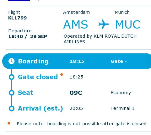 KLM Boarding Pass AMS-MUC