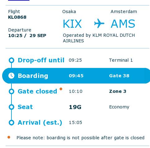 KLM Boarding Pass KIX-AMS