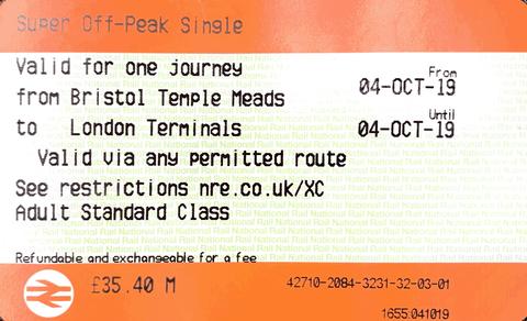 Train ticket Bristol to London